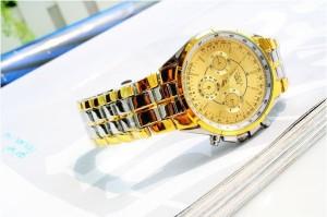 Luxusné pánske hodinky v zlato striebornej farbe