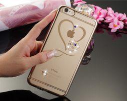 Silikónový obal so šperkom na iPhone 6   6S - srdce ... f57b5a011b1