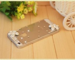 Obal z tvrdeného plastu so šperkom na iPhone 5 / 5S - kvet strieborný