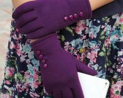 Bavlnené dámske rukavice vhodné na ovládanie mobilu