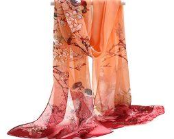 Elegantný šál s prírodným motívom v purpurovej farbe