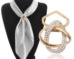 Luxusná brošňa v tvare zapletených prstencov v zlatej farbe