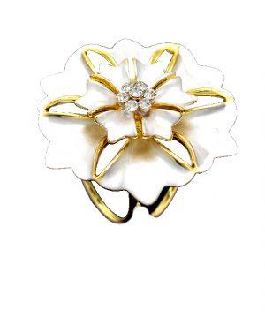 Prstenec na šatky - kvet zeme - biela