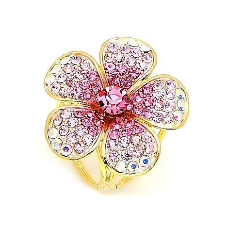 0845a6757 Prsteň na šatku - Ligotavý kvet v ružovej farbe