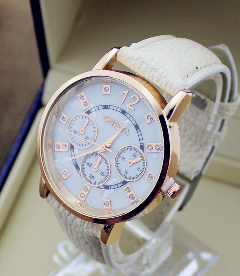 506cd61afb5 Luxusné pánske hodinky Geneva v bežovej farbe