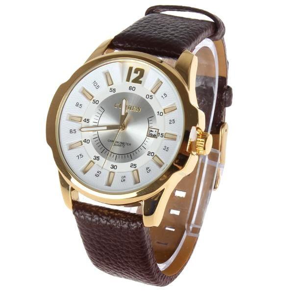 75c90e9ef Luxusné pánske hodinky Curren v zlatej farbe s hnedým remienkom
