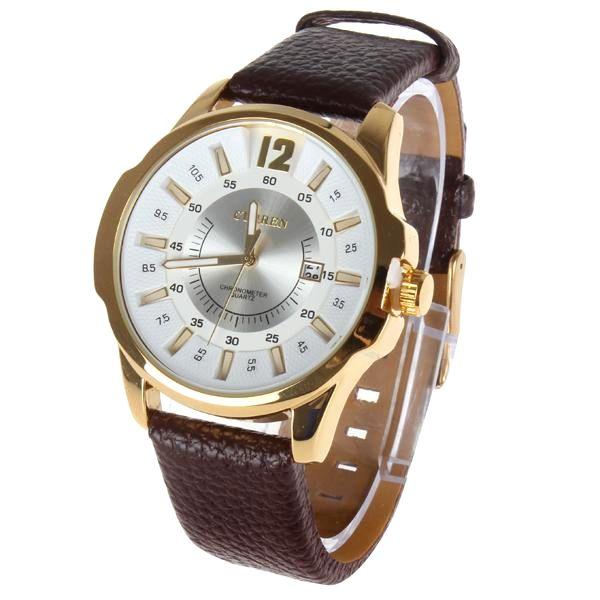 Luxusné pánske hodinky Curren v zlatej farbe s hnedým remienkom ... 6616a5ce9d