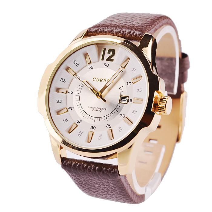 Luxusné pánske hodinky Curren v zlatej farbe s hnedým remienkom ... 1f44c922f06