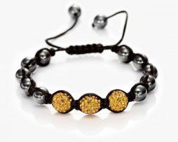 Luxusný ručne nastaviteľný korálový náramok v citrónovej farbe (Shamballa)