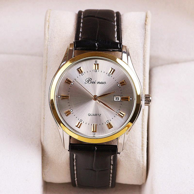 Luxusné pánske hodinky Beinuo s čiernym remienkom v zlatej úprave ... e674ac2146e