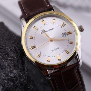 94e263a1d Luxusné pánske hodinky Beinuo s hnedým remienkom v zlatej úprave