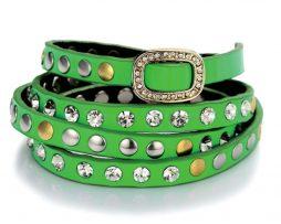 Luxusný ručne nastaviteľný kamienkový náramok s kryštálmi v zelenej farbe