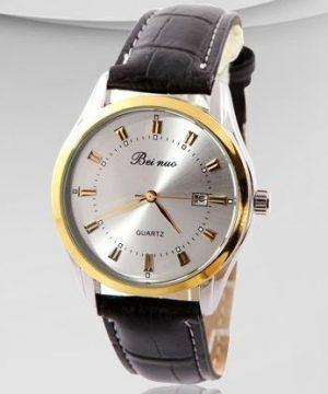 7a7c4e7607 Luxusné pánske hodinky Beinuo s čiernym remienkom v zlatej úprave