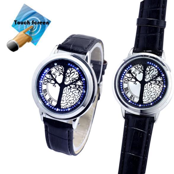 Luxusné modré LED hodinky strom života s dotykovým displejom ... f13ce6f95a