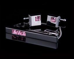 Luxusná kravatová súprava s ružovými kryštálmi (1)