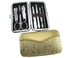 Luxusná manikúrová sada v zlatej krabici z umelej kože