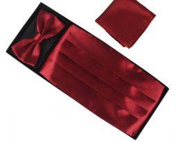 Luxusná pánska šerpa, motýlik a vreckovka v červenej farbe