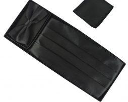 Luxusná pánska šerpa, motýlik a vreckovka v čiernej farbe