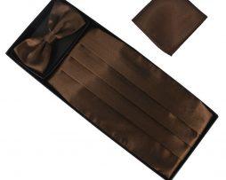 Luxusná pánska šerpa, motýlik a vreckovka v hnedej farbe