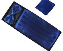 Luxusná pánska šerpa, motýlik a vreckovka v modrej farbe