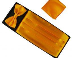 Luxusná pánska šerpa, motýlik a vreckovka v pomarančovej farbe