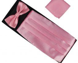 Luxusná pánska šerpa, motýlik a vreckovka v ružovej farbe
