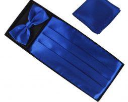 Luxusná pánska šerpa, motýlik a vreckovka v tmavo modrej farbe