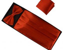 Luxusná pánska šerpa, motýlik a vreckovka v tmavo oranžovej farbe