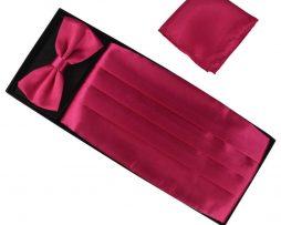 Luxusná pánska šerpa, motýlik a vreckovka v tmavo ružovej farbe
