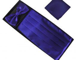Luxusná pánska šerpa, motýlik a vreckovka vo fialovo modrej farbe