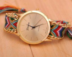 Luxusné dámske hodinky Geneva s pleteným náramkom č.1