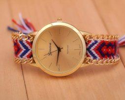 Luxusné dámske hodinky Geneva s pleteným náramkom č.2