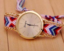 Luxusné dámske hodinky Geneva s pleteným náramkom č.3