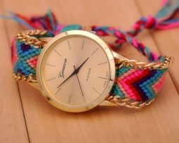 Luxusné dámske hodinky Geneva s pleteným náramkom č.5
