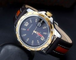 Luxusné pánske hodinky Curren z masívnej ocele s pevným koženým opaskom
