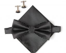 Luxusný pánsky motýlik, vreckovka a manžetové gombíky v čiernej farbe