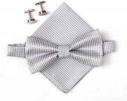 Luxusný pánsky motýlik, vreckovka a manžetové gombíky v bielej farbe