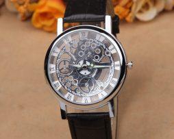 Luxusné unisex mechanické hodinky Skeleton v striebornej farbe