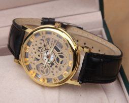 Luxusné unisex mechanické hodinky Skeleton v zlatej farbe