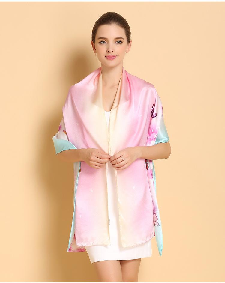 Elegantný dámsky hodvábny šál s motýľmi v dúhových farbách  bbb5b5ab4a3