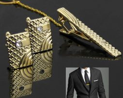 Luxusná kravatová súprava - spona s manžetovými gombíkmi v zlatej farbe
