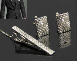 Luxusná kravatová súprava - spona s manžetovými gombíkmi v striebornej farbe