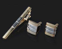 Luxusná kravatová súprava spony a gombíkov v zlatej farbe