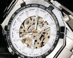 Luxusné kvalitné samo-natáčacie hodinky s bielym ciferníkom