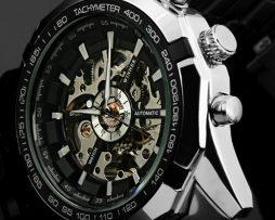 Luxusné kvalitné samo-natáčacie hodinky s čiernym ciferníkom