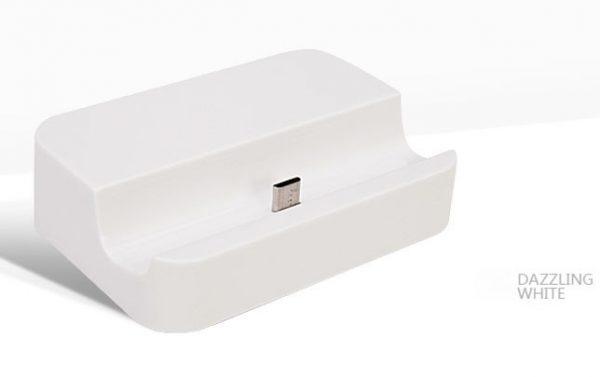 Luxusný mikro USB stojan/nabíjačka na mobil - biely