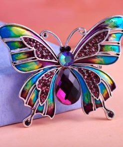 Moderná brošňa v tvare motýľa s rakúskymi kryštáľmi