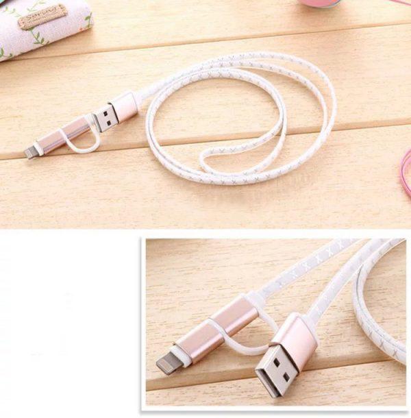 2 in 1 Dátový kábel pre zariadenia IOS a ANDROID, rôzne farby, 1m