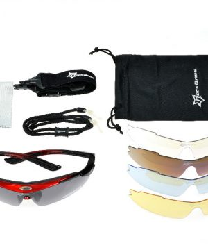 Športové multifunkčné okuliare na šport aj nočnú jazdu - čierno-červené