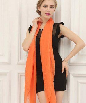 Luxusný elegantný šál v pomarančovej farbe